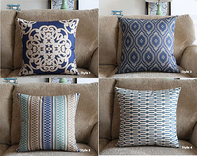 Blue Home Decor Vintage Linen Cotton Cushion Cover Throw Pillow Case 45x45cm