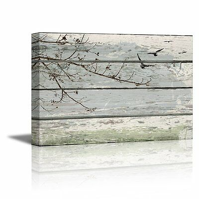 48422368deb Abstract Wall Art Tree Branches with birds on Vintage Wood Background- 16