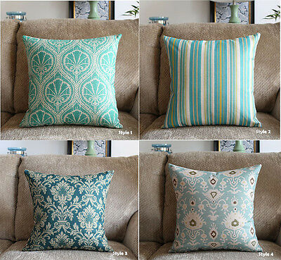 Green Home Decor Vintage Linen Cotton Cushion Cover Throw Pillow Case 45x45cm