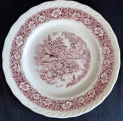 "W.H. Grindley Pottery Red & White 25 cm Dinner Plate ""Countryside"" Decorative"