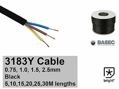 Black Round Flexible Cable 3 core 3183Y 0.75mm 1mm 1.5mm 2.5mm Flex Wire