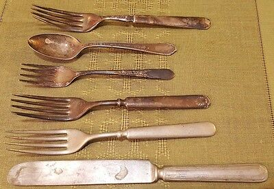 5 Piece Antique WM ROGERS Silverplate Silverware Utensils Lot