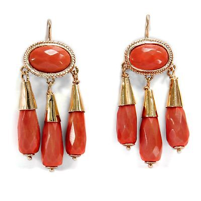 vintage Ohrringe im antiken Stil: Italienische Koralle in Gold Coral Earrings