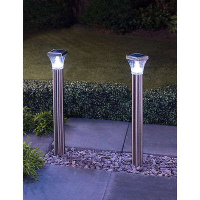 Post L& Stainless Steel Outdoor Solar Powered Stake Lights 2PK  sc 1 st  PicClick UK & SET OF 3 Cool White LED Solar Stainless Steel Bollard Post Garden ...