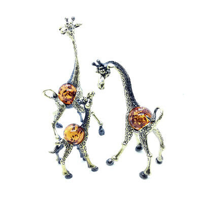 Bronze Brass Figurine Statuette Animal Giraffe Family Baltic Amber IronWork 234