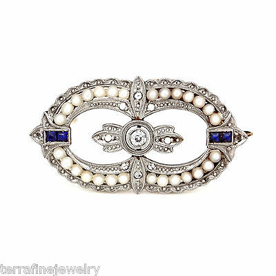 Antique Art Deco Pearl Rose Cut Diamond and 14k Yellow Gold PT Topped Brooch