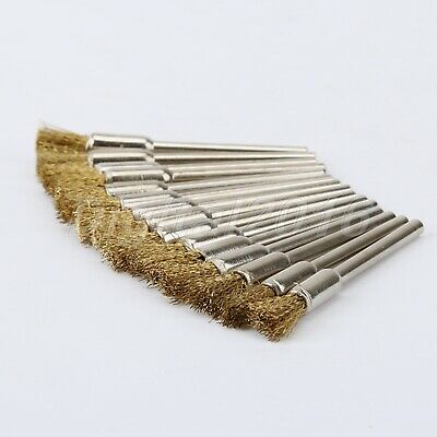 10X Brass Rotary Wire Wheel Pencil Polising Brushes Die Grinder Tool For Grinder