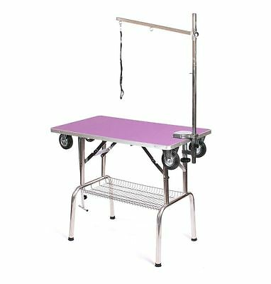 Pedigroom dog pet  grooming mobile portable show table with wheels arm noose pu