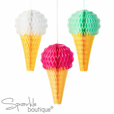 ICE CREAM HONEYCOMB DECORATIONS x3 - Summer Garden Party/BBQ Hanging Decoration