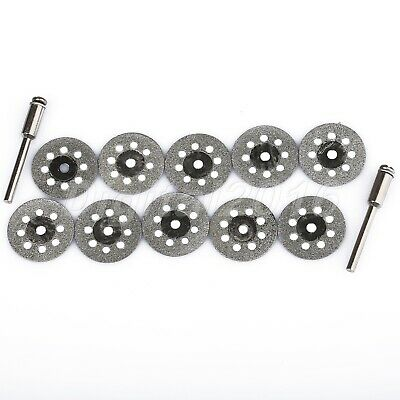22mm Diamond Disc Cut Off Wheels & 2 Mandrel  Grinder Cutting Rotary Tool 10pc