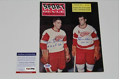 Gordie Howe & Ted Lindsay Dual Signed January 1957 Sport Revue Psa/dna Auth Coa