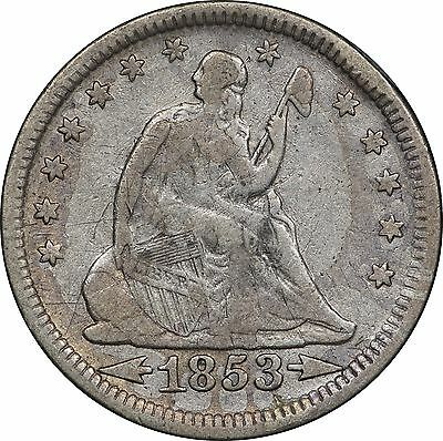 1853 Arrows and Rays Seated Quarter, VF Details