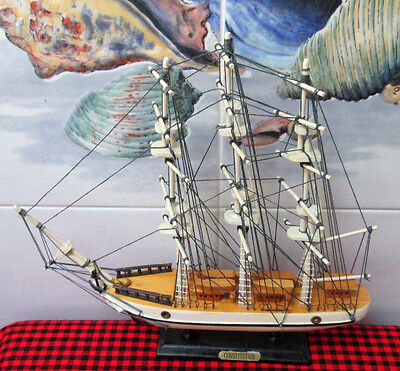 """Vintage Wooden Ship~13""""X13""""~*CONSTITUTION*~Beautiful Detailed Sail Ship Replica~"""