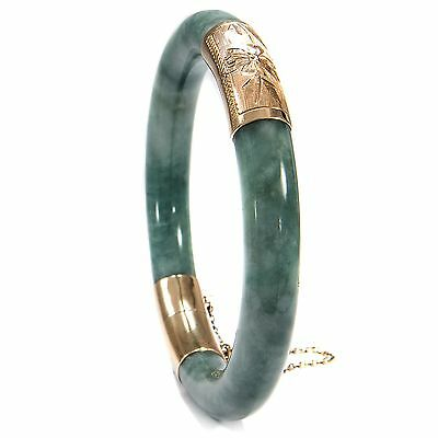 Edler Armreif aus Jade und 585er Gold, China / 14k Vintage Bangle Bracelet