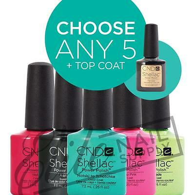 CND SHELLAC UV Color Coat 7.3ml - Any 5 Colours + Top Coat + FREE CND SolarOil