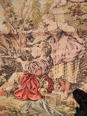 Antique Tapestry w Cherub Fountain & Roses Made in Belgium Wall Hanging