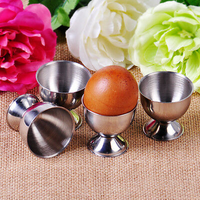 NEW 4x Stainless Steel Soft Boiled Egg Cups Egg Holder Tabletop Cup Kitchen Tool • CAD $8.13