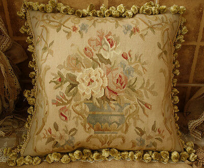 "18"" Gorgeous Traditional Hand-Woven 18th C. Reproduction Aubusson Pillow Cushion"