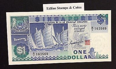 1987 $1 Singapore Banknote - Uncirculated - Pick 18A - B/6 163569