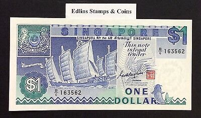 1987 $1 Singapore Banknote - Uncirculated - Pick 18A - B/6 163562