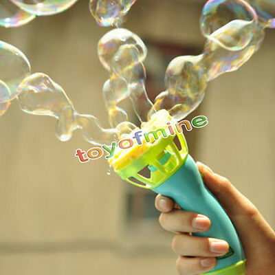 Baby Kids Outdoor Game Water Fun Play Toy Hand Held Bubble Blower Gun