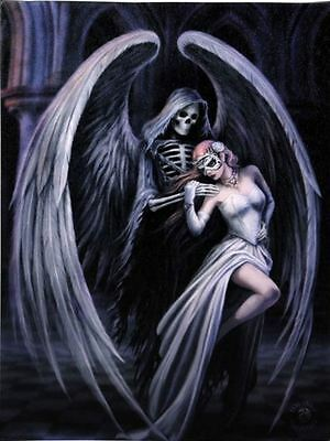 """Dance with Death Canvas Plaque by Anne Stokes 10"""" x 7"""""""