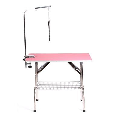 "Pedigroom extra large portable mobile 37"" dog grooming table 95cm x 55cm pink"