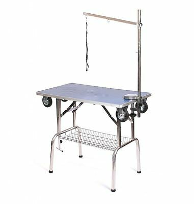 Pedigroom dog pet grooming mobile portable show table with wheels arm noose bu