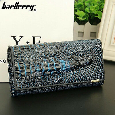 Blue Fashion Women Long Genuine Leather Clutch Wallet Card Holder Purse Handbag