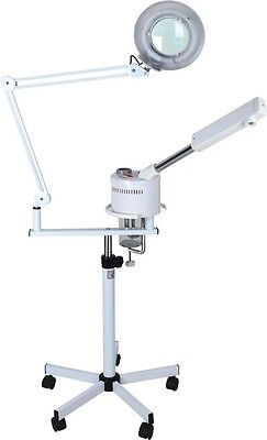 2 in 1 Desktop Magnifying Lamp FACIAL OZONE STEAMER ON STAND SPA Salon Skincare