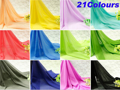 Plain Fabric Polyester Chiffon Craft Metre Solid Material Chic Sewing Dress