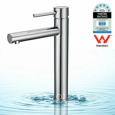 WELS Brass Round Tall Basin Mixer Bathroom Vanity High Faucet Sink Tap Chrome