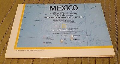 1973 National Geographic MEXICO and CENTRAL AMERICA Map