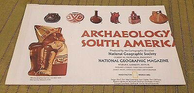 1982 National Geographic Archaeology of SOUTH AMERICA Map