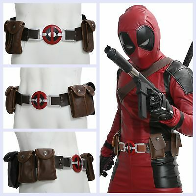 XCOSER Deadpool Belt Leather For Cosplay Halloween Props with 6 pockets Movie