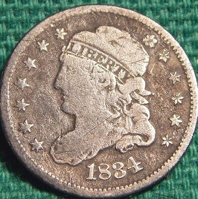 """1834 Capped Bust Silver Half Dime Full """"LIBERTY"""" Circulated Philadelphia Mint!"""