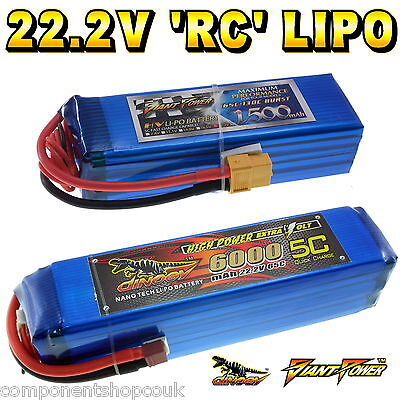 22.2V 1500 to 6000mAh 6S RC LiPo Battery up to 65C All Sizes + Custom Connector