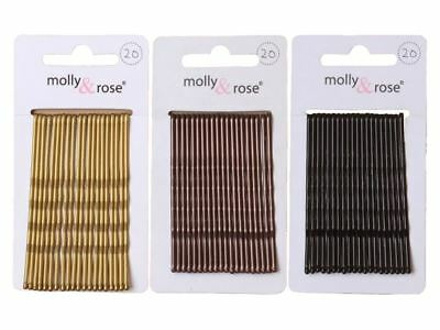 20pc Long 6.5cm Kirby Grips Hair Bobby Pins Clips Blonde Black Brown