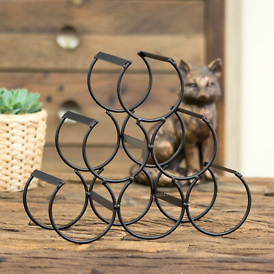 6 Bottle Wine Rack Black Metal Wire Storage Counter Top Holder Display Crate