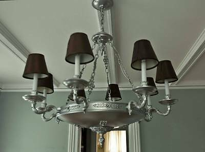 Vintage French Empire Tole Silver Finish Brass Chandelier 11 Light