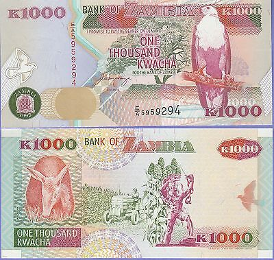 """Zambia 1000 Kwacha Banknote 1992 Uncirculated Condition Cat#40-A-9294""""Eagle"""""""