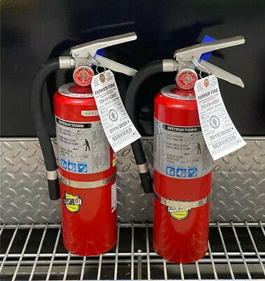 Set OF 2 FIRE EXTINGUISHER 5lb 5# ABC NEW CERT TAG (SCRATCH/DIRTY)