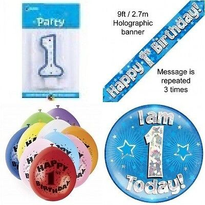 1st Birthday Party Set Age 1 Boys (Banner Balloons, Candle, Badge)