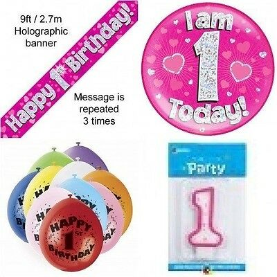 1st Birthday Party Set Age 1 Girls (Banner Balloons, Candle, Badge)