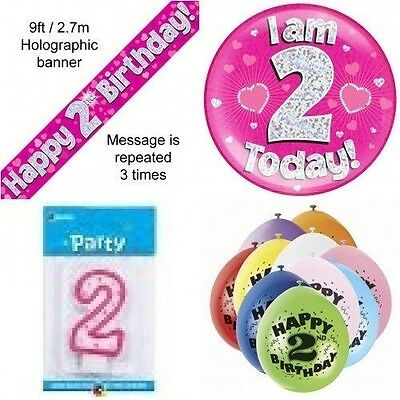 2nd Birthday Party Set Age 2 Girls (Banner Balloons, Candle, Badge)
