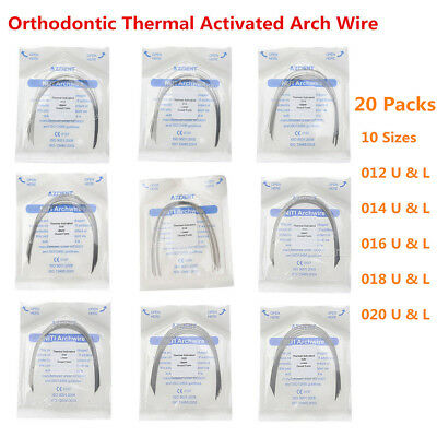 20X AZDENT Dental Orthodontic Thermal Activated NITI Round Arch Wires 10 Sizes