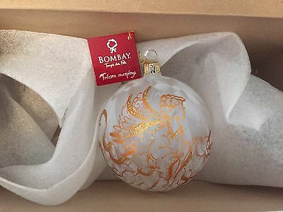 Bombay Holiday Angel Large Hand Blown Painted Christmas Ornament New