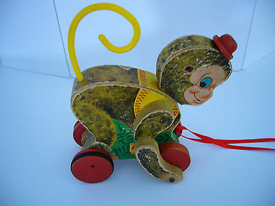 Vintage CHATTER MONK. Fisher Price 798 PULL Toy  1950's