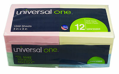 "Universal Standard Self-Stick 3"" x 3"" Notes, Assorted Pastel Colors - Pack of 12"