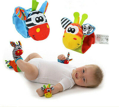 Cute Sozzy Baby Kids Toy Plush Rattles Animal Socks Wrist Foot Strap Rattle
